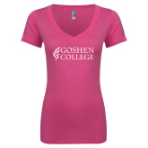 Next Level Ladies Junior Fit Ideal V Pink Tee-Goshen College Stacked