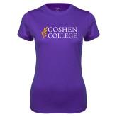 Ladies Syntrel Performance Purple Tee-Goshen College Stacked