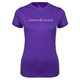 Ladies Syntrel Performance Purple Tee-Goshen College Logo