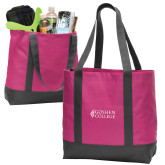 Tropical Pink/Dark Charcoal Day Tote-Goshen College Stacked