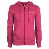 ENZA Ladies Fuchsia Fleece Full Zip Hoodie-Goshen College Stacked