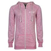 ENZA Ladies Hot Pink Marled Full Zip Hoodie-Goshen College Stacked
