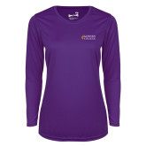 Ladies Syntrel Performance Purple Longsleeve Shirt-Goshen College Stacked