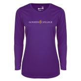 Ladies Syntrel Performance Purple Longsleeve Shirt-Goshen College Logo