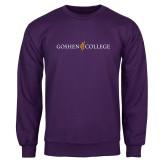 Purple Fleece Crew-Goshen College Logo
