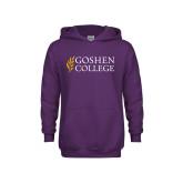 Youth Purple Fleece Hoodie-Goshen College Stacked