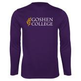 Performance Purple Longsleeve Shirt-Goshen College Stacked
