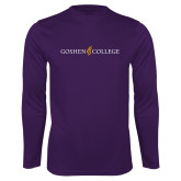 Performance Purple Longsleeve Shirt-Goshen College Logo