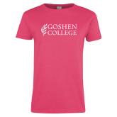 Ladies Fuchsia T Shirt-Goshen College Stacked