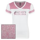 Ladies White/Heathered Pink Juniors Varsity V Neck Tee-Goshen College Stacked Foil