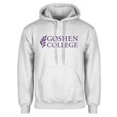 White Fleece Hoodie-Goshen College Stacked