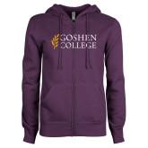 ENZA Ladies Purple Fleece Full Zip Hoodie-Goshen College Stacked