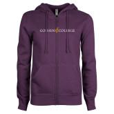 ENZA Ladies Purple Fleece Full Zip Hoodie-Goshen College Logo