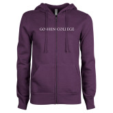 ENZA Ladies Purple Fleece Full Zip Hoodie-Goshen College Flat Word Mark