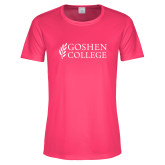 Ladies Performance Hot Pink Tee-Goshen College Stacked