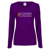 Ladies Purple Long Sleeve V Neck Tee-Goshen College Stacked