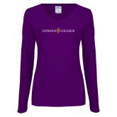 Ladies Purple Long Sleeve V Neck Tee-Goshen College Logo
