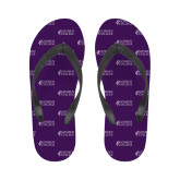 Ladies Full Color Flip Flops-Goshen College Stacked