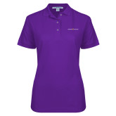 Ladies Easycare Purple Pique Polo-Goshen College Logo
