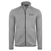 Grey Heather Fleece Jacket-Goshen College Stacked