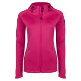 Ladies Tech Fleece Full Zip Hot Pink Hooded Jacket-Goshen College Stacked