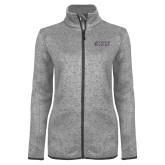 Grey Heather Ladies Fleece Jacket-Goshen College Stacked