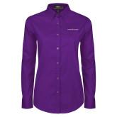 Ladies Purple Twill Button Down Long Sleeve-Goshen College Logo