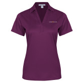 Ladies Purple Performance Fine Jacquard Polo-Goshen College Logo
