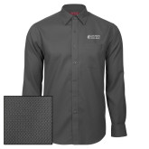 Red House Dark Charcoal Diamond Dobby Long Sleeve Shirt-Goshen College Stacked