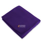 Purple Arctic Fleece Blanket-Goshen College Stacked