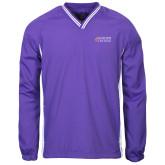 Colorblock V Neck Purple/White Raglan Windshirt-Goshen College Stacked