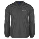 V Neck Charcoal Raglan Windshirt-Goshen College Stacked