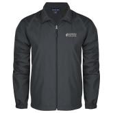 Full Zip Charcoal Wind Jacket-Goshen College Stacked