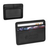 Pedova Black Card Wallet-Goshen College Stacked Engraved