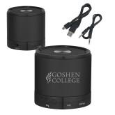Wireless HD Bluetooth Black Round Speaker-Goshen College Stacked Engraved