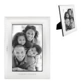 Satin Silver Metal Textured 4 x 6 Photo Frame-Goshen College Flat Word Mark Engraved