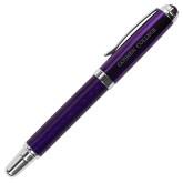 Carbon Fiber Purple Rollerball Pen-Goshen College Flat Word Mark Engraved