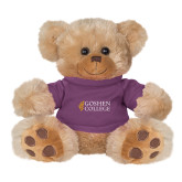 Plush Big Paw 8 1/2 inch Brown Bear w/Purple Shirt-Goshen College Stacked