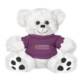 Plush Big Paw 8 1/2 inch White Bear w/Purple Shirt-Goshen College Stacked