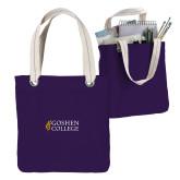 Allie Purple Canvas Tote-Goshen College Stacked