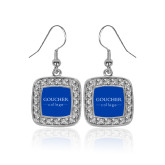 Crystal Studded Square Pendant Silver Dangle Earrings-College Mark
