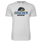 Next Level SoftStyle White T Shirt-Goucher Gophers Stacked