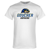 White T Shirt-Goucher Gophers Stacked