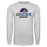 White Long Sleeve T Shirt-Goucher Gophers Stacked