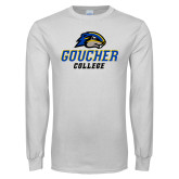 White Long Sleeve T Shirt-Goucher College Stacked