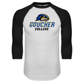 White/Black Raglan Baseball T Shirt-Goucher College Stacked