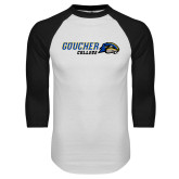 White/Black Raglan Baseball T Shirt-Goucher College Horizontal