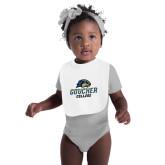 White Baby Bib-Goucher College Stacked