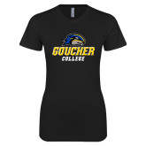 Next Level Ladies SoftStyle Junior Fitted Black Tee-Goucher College Stacked
