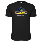 Next Level SoftStyle Black T Shirt-Goucher Gophers Stacked